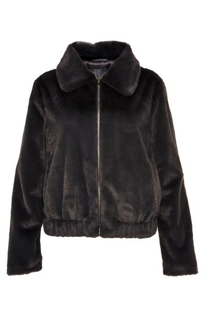 Black Faux Fur Bomber Coat