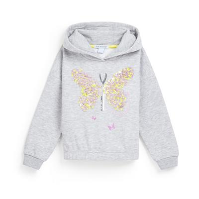 Younger Girl Grey Butterfly Sequin Hoodie