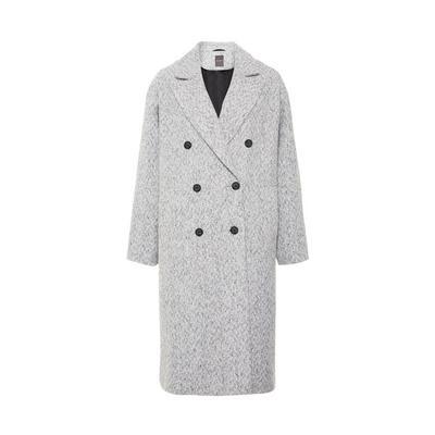 Grey Herringbone Double Breated Textured Crombie Coat