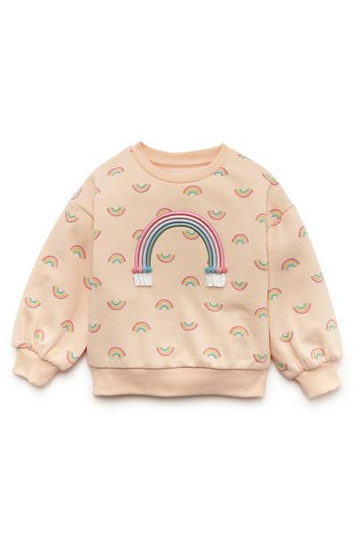 Sweat-shirt pêche ras du cou à motif arc-en-ciel fille