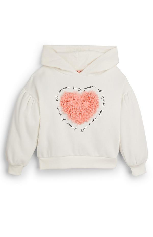 Sudadera blanca de manga abullonada con capucha y corazón para niña pequeña