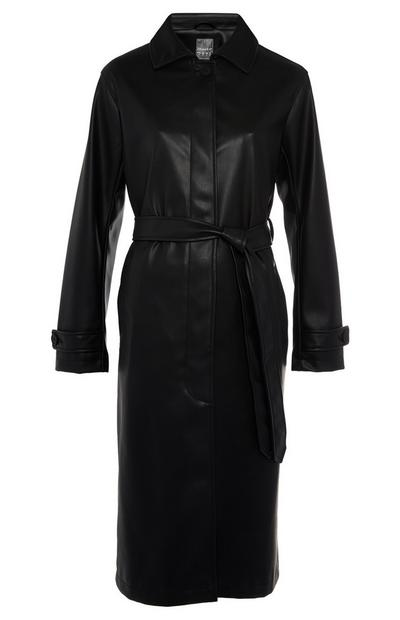 Black Longline PU Mac Coat
