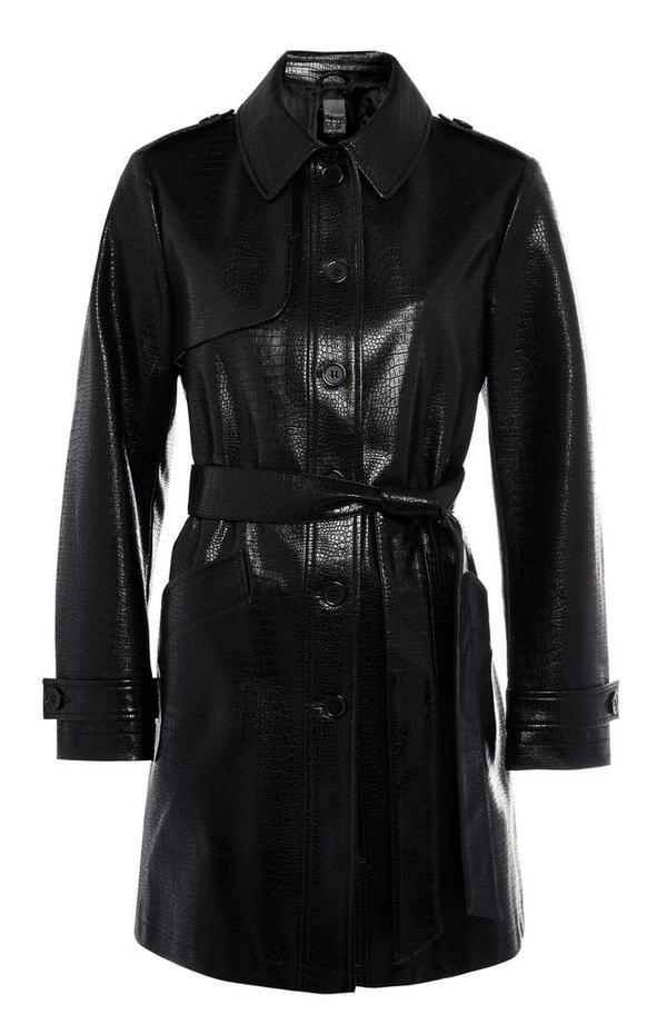 Trench-coat noir boutonné en simili cuir imitation crocodile