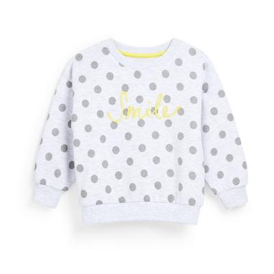 Younger Girl White Spot Crew Neck Sweater