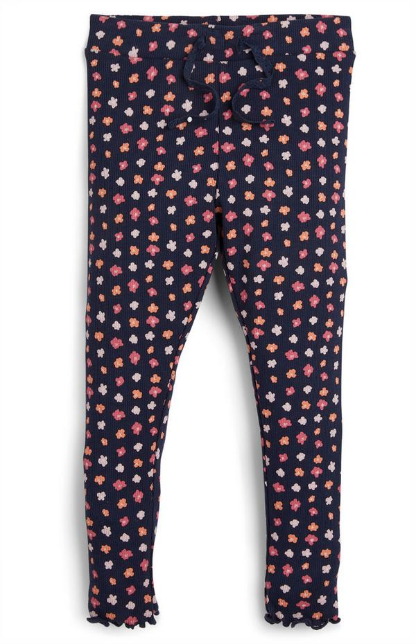 Younger Girl Navy Ribbed Floral Leggings