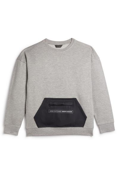 Older Boys Grey Woven Pocket Panel Crew Neck Sweater
