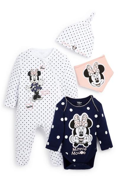 Newborn Baby White Navy and Pink Minnie Mouse 4 Piece Set