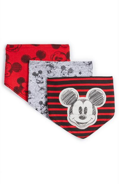 Lot de 3 bavoirs rouges Mickey Mouse bébé