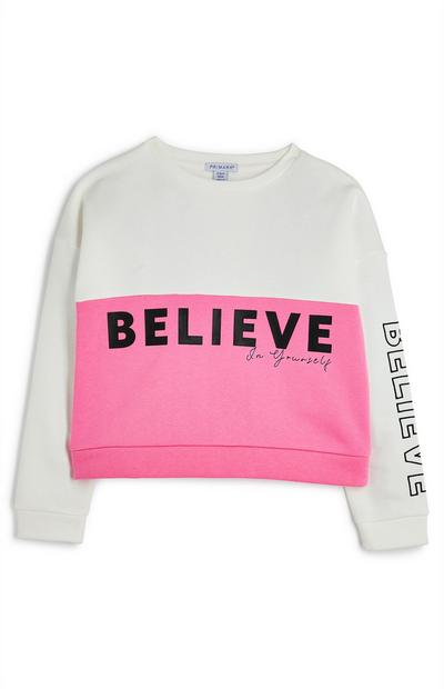 Older Girl Believe Pink And White Color Block Crew Neck Sweatshirt