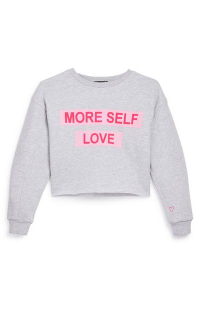 Sweat-shirt gris à message More Self Love ado
