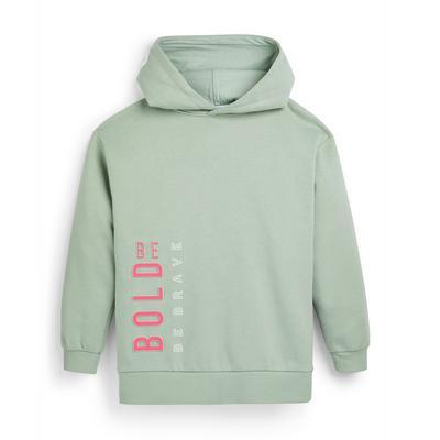 Groene hoodie met tekst voor meisjes