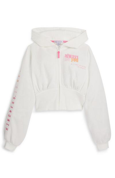 Older Girl White Zip Up Hoodie