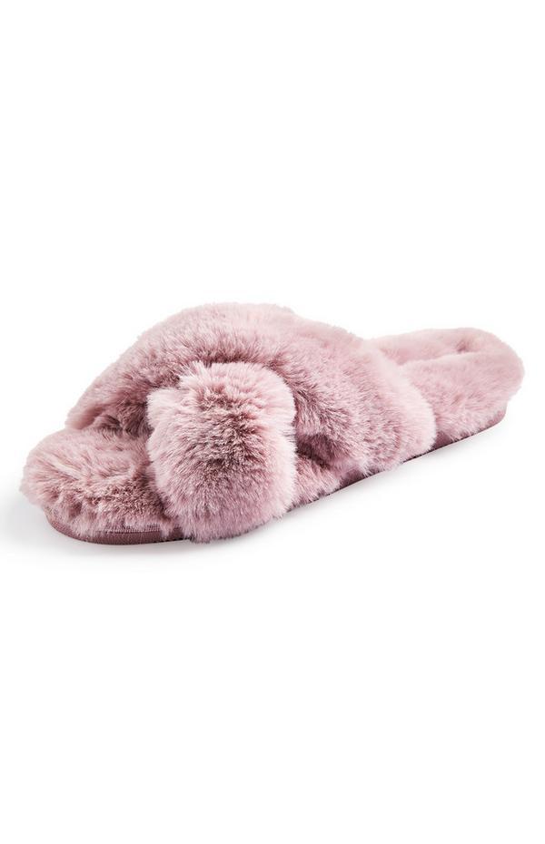 Pink Faux Fur Cross Strap Slide On Slippers
