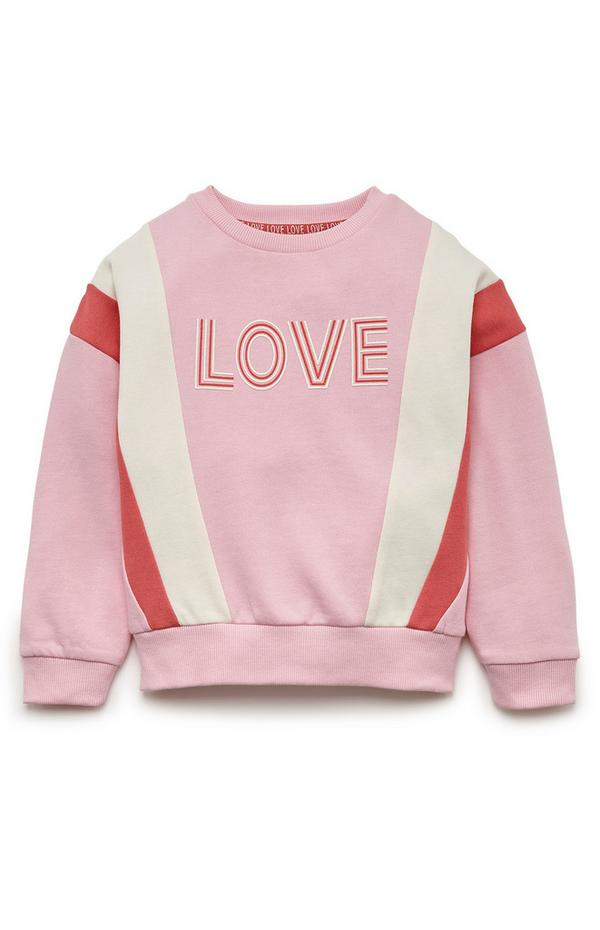 Younger Girl Pink And Red Colour Block Crew Neck Sweater