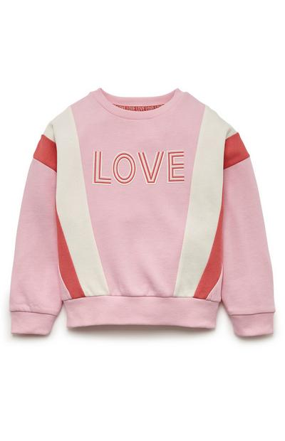 Sweat-shirt rose et rouge colour block ras du cou fille