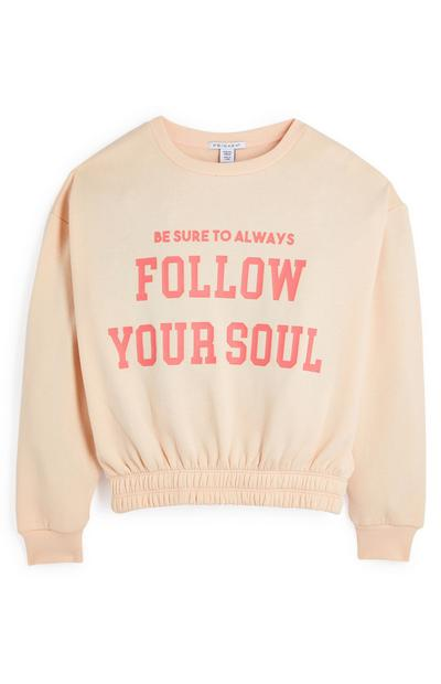 Sweat-shirt ras du cou pêche pâle à double ourlet Follow Your Soul ado