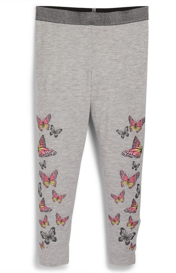 Younger Girl Grey Butterfly Leggings