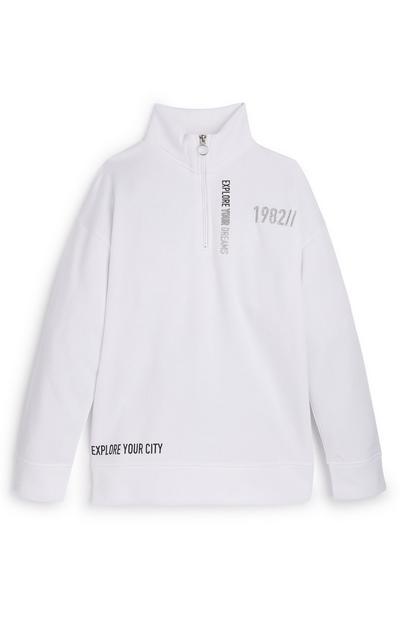 Weißer Pullover mit Halbreißverschluss (Teeny Girls)