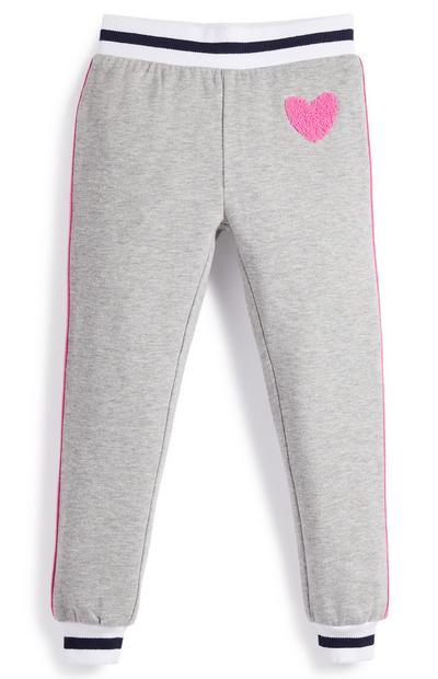 Younger Girl Grey Pink Side Stripe Joggers