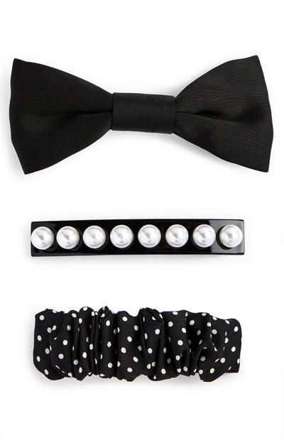 3-Pack Black Bow/Pearl Barrettes