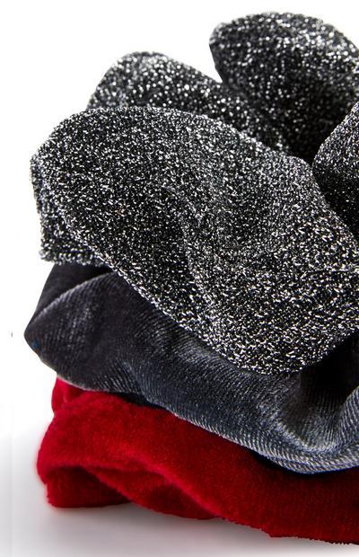 Grau-rote, schimmernde Haargummis, 3er-Pack
