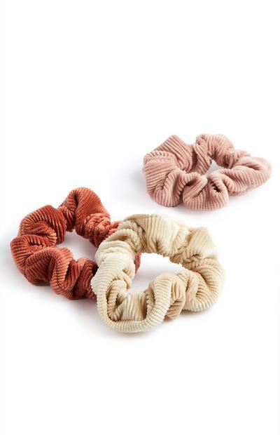Mini rebraste žametne elastike za lase, 3 kosi