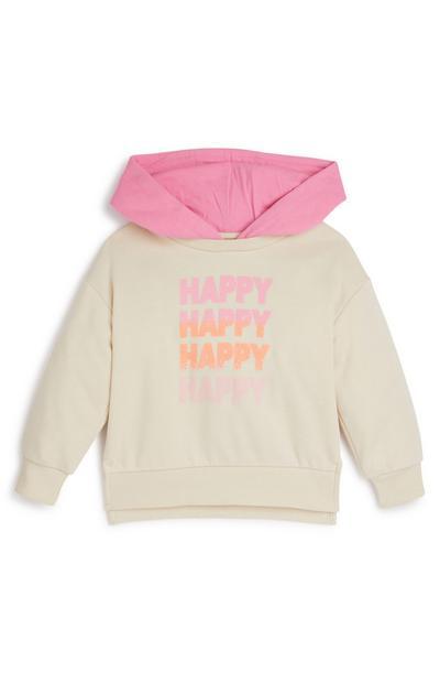 Younger Girl Ecru Happy Hoodie
