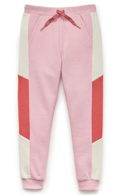 Bas de jogging rose et rouge colour block fille