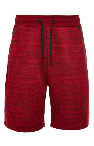 Red Knitted Texture Sports Tie Waist Shorts