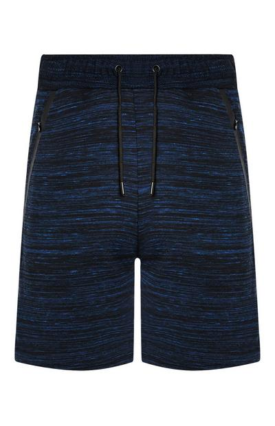 Blue and Black Knitted Texture Sports Shorts