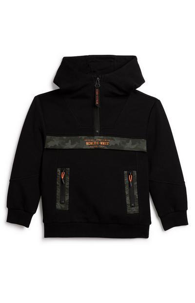 Zwarte hoodie met geweven inzetstukken en halve rits voor jongens