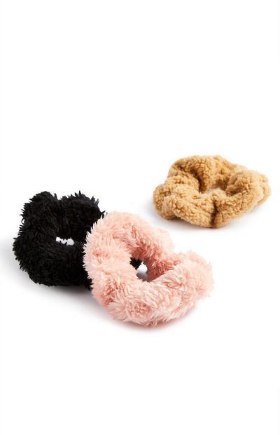 Haargummis in Teddyfelloptik, 3er-Pack