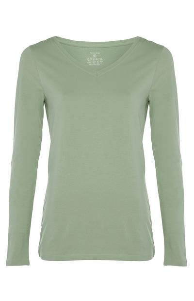 Green Stretch Long Sleeve V-Neck Top