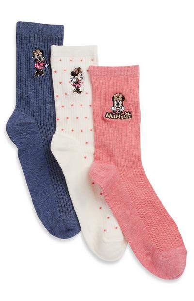 Pack 3 pares meias bordadas Minnie Mouse