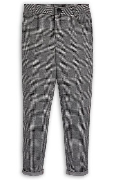Older Girl Black And White Check Skinny Trousers