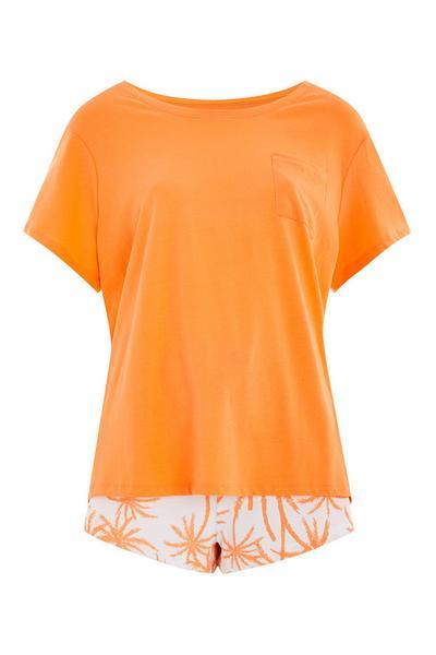 Oranžen trajnostni komplet majice in kratkih hlač