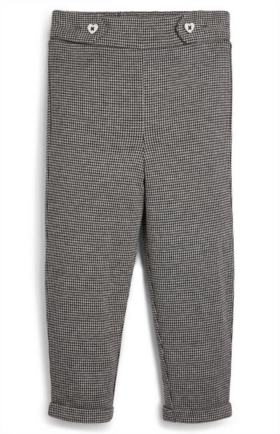 Younger Girl Black And White Button Check Trousers
