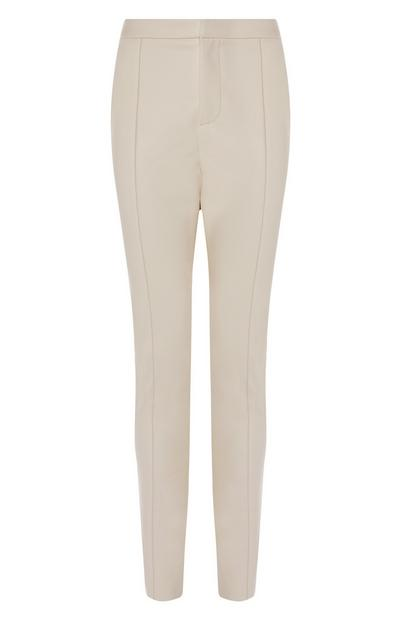 Cream Faux PU Leather Skinny Leg Trousers
