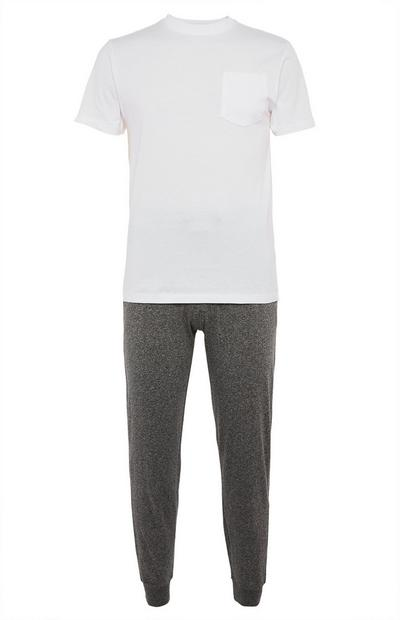 Organic White T-Shirt Grey Joggers Pyjamas Set