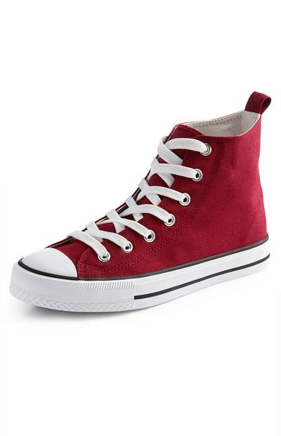 Red Classic Canvas High Top Trainers