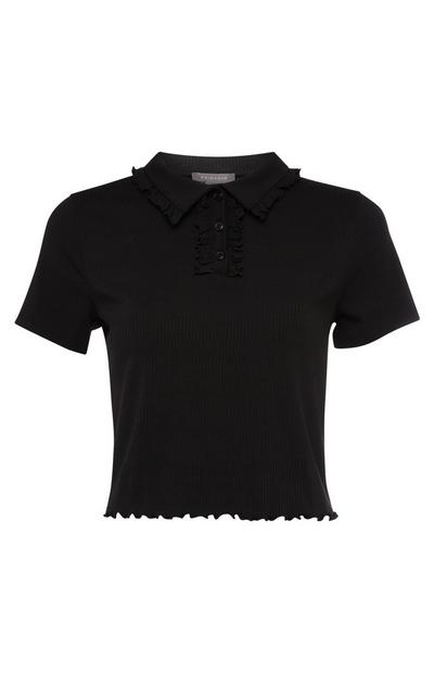 Black Frill Collar Polo Shirt