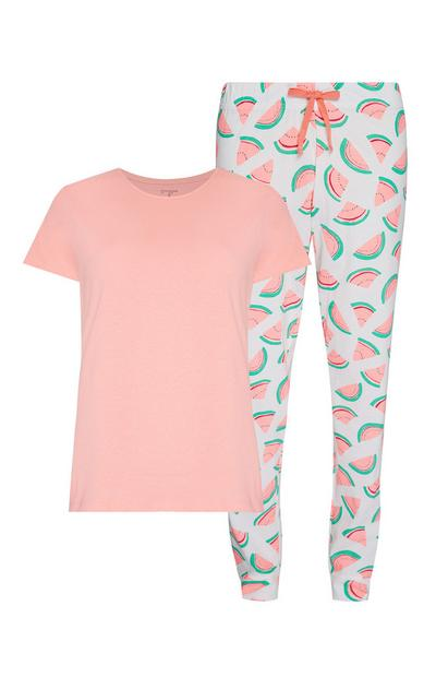 Pigiama con maglia e joggers color corallo e bianco con fantasia di anguria