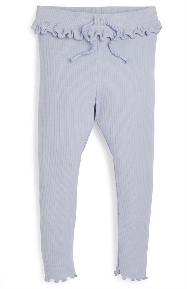 Blauwe geribde legging met franjes voor meisjes