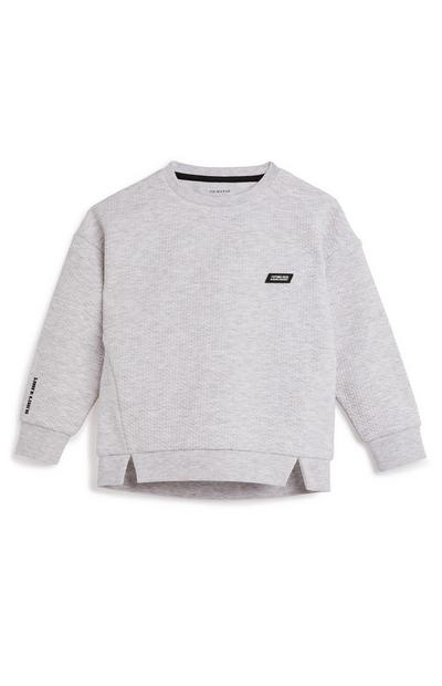 Younger Boy Grey Honeycomb Badge Crew Neck Sweater