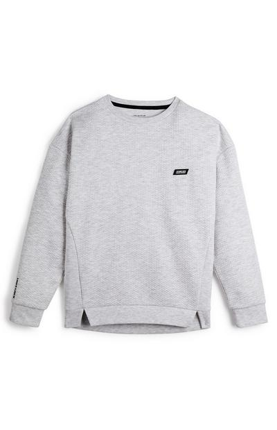 Older Boy Grey Honeycomb Badge Crew Neck Sweater