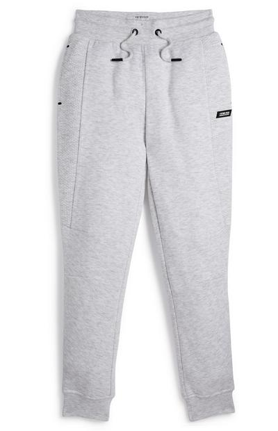 Older Boy Grey Honeycomb Panel Joggers