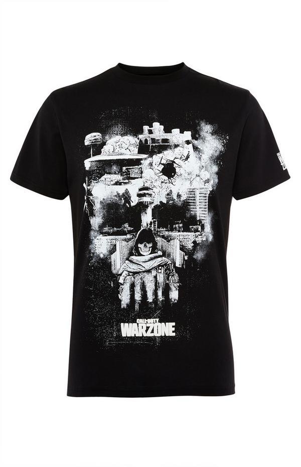 Črna majica z lobanjo in napisom Call Of Duty