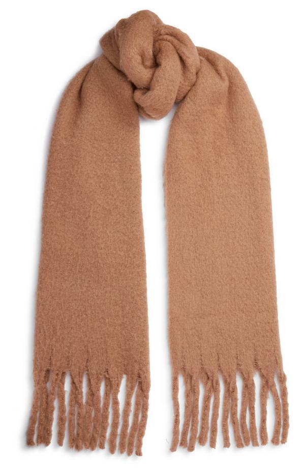 Sciarpa marrone spazzolata con nappine