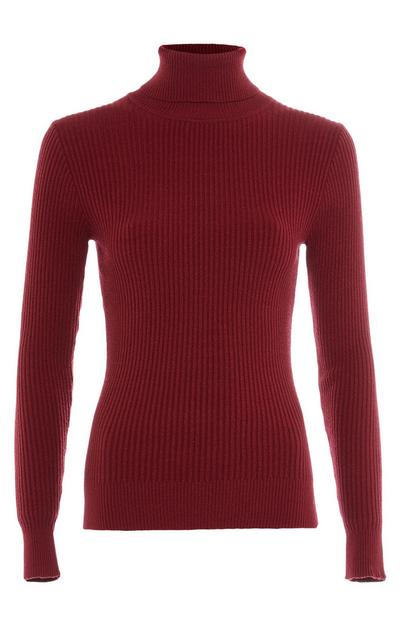 Burgundy Brushed Roll Neck Sweater