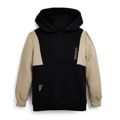 Older Boy Black Colorblock Pullover Hoodie